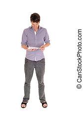 jeune, caucasien, position homme, et, lecture