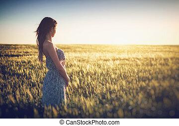 jeune, champ, blé, printemps, femme, beau
