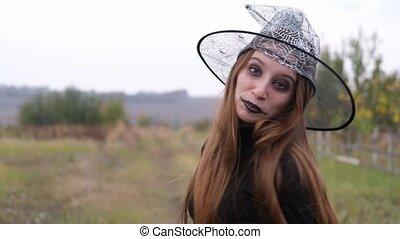 jeune, chapeau magicien, girl, maquillage