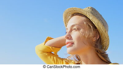 jeune, chapeau paille, femme, plage, caucasien, vue, 4k,...