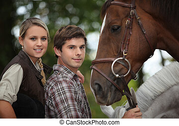 jeune, cheval, deux personnes
