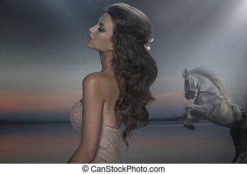 jeune, cheval, fond, femme, merveilleux