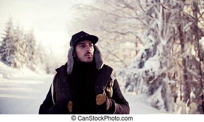 jeune, cold., homme, sentiment, marche, hiver, dehors,...