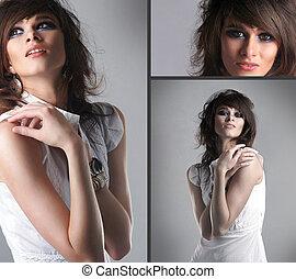 jeune, collage, femmes, brunette