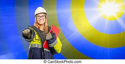 jeune, confiant, presse-papiers, métier, ingénieur, elle, advertises