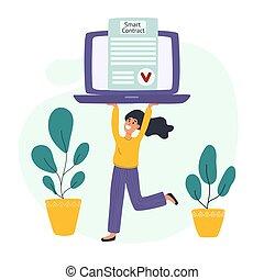 jeune, contrat, concept, vérifié, ordinateur portable,...
