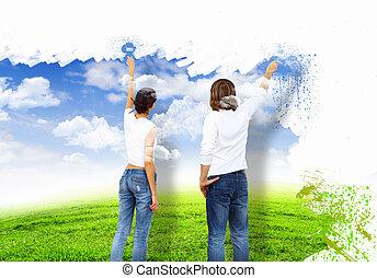 jeune couple, à, peinture brosse, ensemble