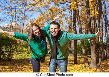 jeune couple, amusant, dans, automne, parc, sur, ensoleillé, diminuez jour