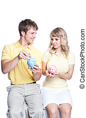 jeune couple, argent économie