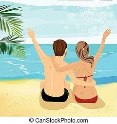 jeune couple, dos, haut, exotique, bras, plage, vue