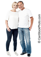 jeune couple, image, désinvolte, mode