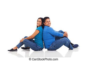 jeune couple, indien, dos, séance