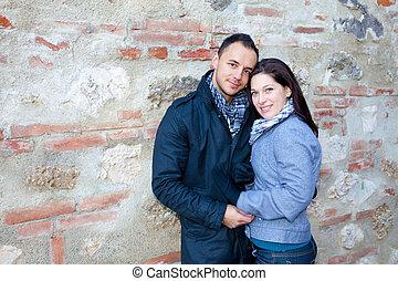 jeune couple, jouer, nature