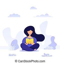 jeune, créatif, book., lire, illustration, séance, sections...