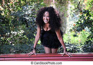 jeune, dame a peau noire , modèle, de, mode