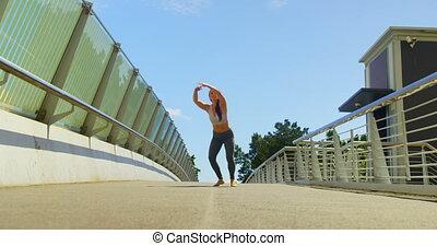jeune, danseur, danse, pont, ville, femme, 4k