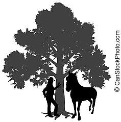 jeune, debout, arbre, sous, cheval, femme, chêne