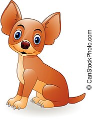 jeune, dessin animé, chien, séance