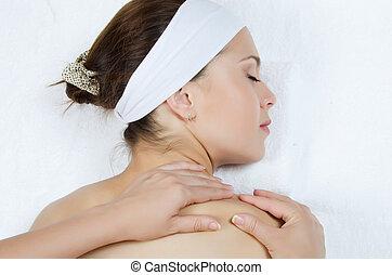 jeune, dos, haut fin, girl, masage