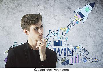 jeune, entrepreneur, concept