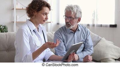jeune, essai, santé, docteur, patient., plus vieux, sérieux...