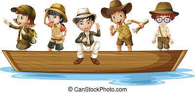 jeune, explorateurs