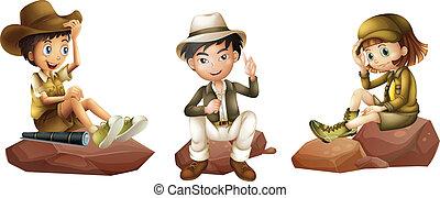 jeune, explorateurs, trois