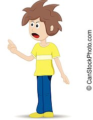 jeune, fâché, adolescent, dessin animé