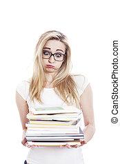 jeune femme, à, beaucoup, de, livres