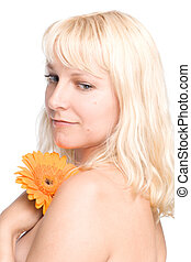 jeune femme, à, cheveux blonds