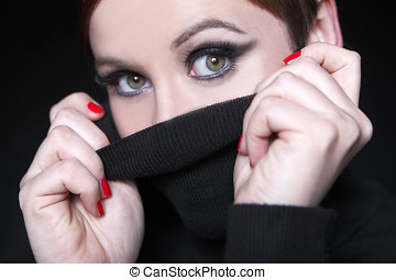 jeune femme, à, lèvres rouges