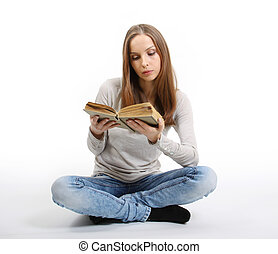 jeune femme, à, livre