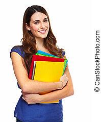 jeune femme, étudiant, à, a, book.
