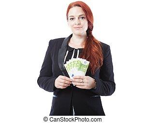 jeune, femme affaires, à, beaucoup, de, billets banque