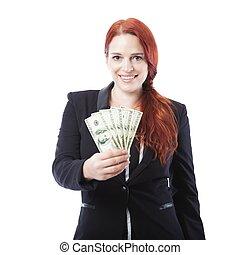 jeune, femme affaires, à, beaucoup, de, dollar, billets banque