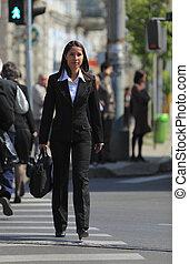 jeune, femme affaires