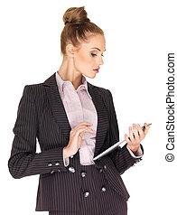 jeune, femme affaires, travailler, tablette