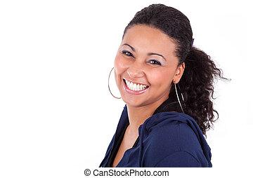 jeune, femme américaine africaine, tenue, elle, tête