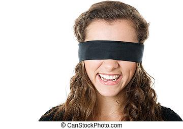 jeune, femme, bandeausur les yeux
