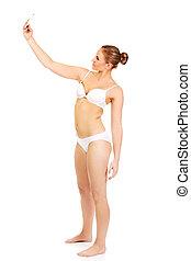 jeune femme, dans, sous-vêtements, marques, photo, de, elle-même