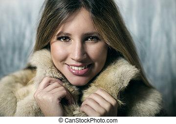 jeune femme, dans, vêtements hiver
