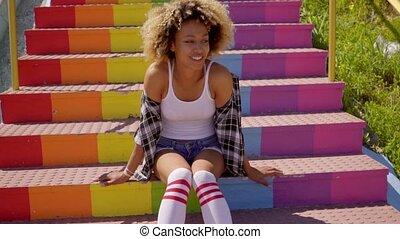 jeune femme, escaliers., coloré, séance