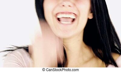 jeune femme, expression, joie