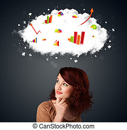 jeune femme, faire gestes, à, nuage, et, diagrammes, concept