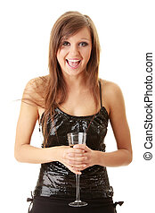 jeune, femme heureuse, à, champagne