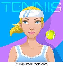 jeune femme, joueur tennis, avatar., sport, manière vivre active