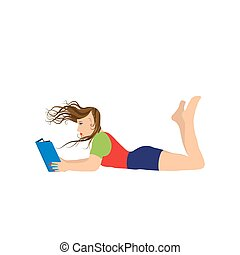 jeune femme, lecture, a, book.