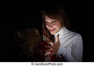 jeune femme, lecture, a, magie, livre