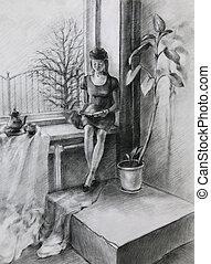 jeune femme, lecture livre