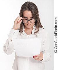 jeune femme, lecture, rapport